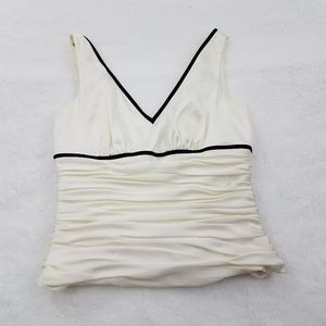 Adrianna Papell Top 2P Satin White Cropped Evening